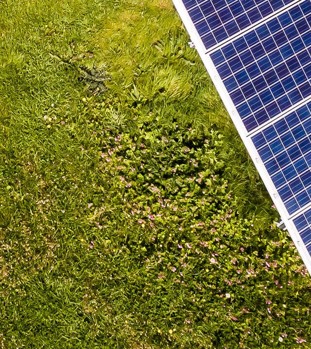 Seventh part of solar panels in green meadow